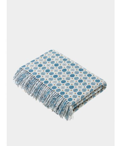 Milan Lambs Wool Throw - Aqua