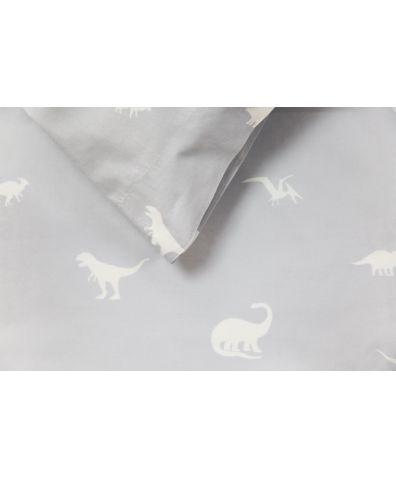 Cotton Duvet Cover - Grey Dinosaurs