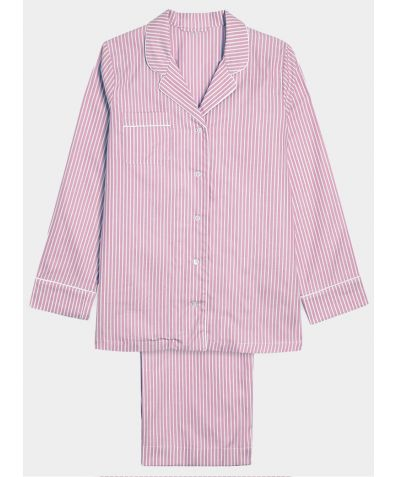 Women's Cotton Pyjama Trouser Set - Pink & White Stripe (SHIPPING THE WEEK COMMENCING THE 22ND MARCH)