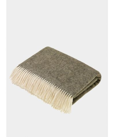 Herringbone Wool Throw - Moss