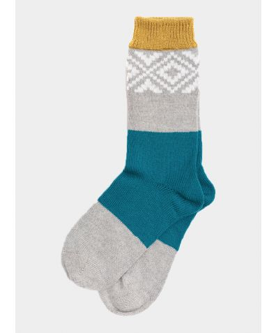 Tile Wool Socks - Tweed Blue / Mustard / Grey