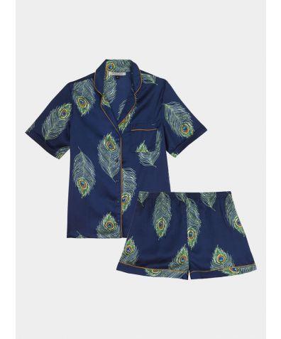 Women's Satin Pyjama Short Set - Navy Peacock