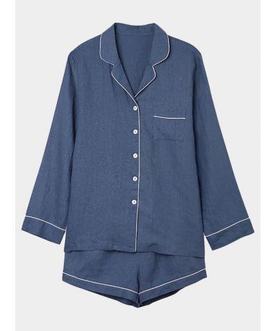 Women's Navy Linen Pyjama Short - Set/Separate