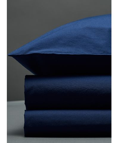 300 Thread Count Egyptian Cotton Percale Duvet Set - Navy
