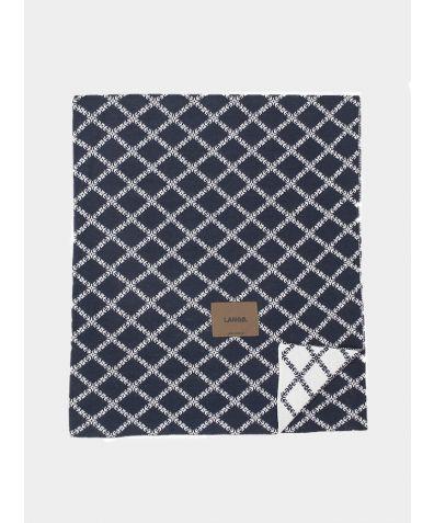 Merino Wool Blanket - Dark Blue White