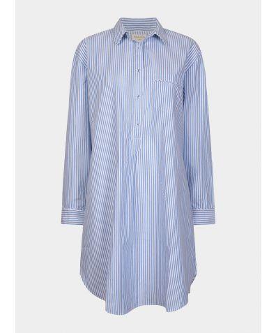 Dream-On Cotton Nighshirt - Blue & White Stripe