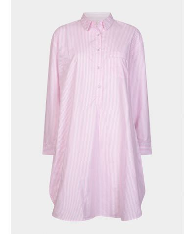 Dream-On Cotton Nightshirt - Pink & White Stripe