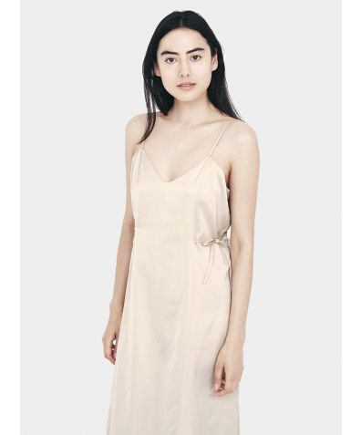 Relaxed Cotton Silk Slip Dress - Nude