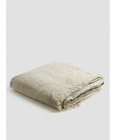 Linen Crinkle Throw - Oatmeal