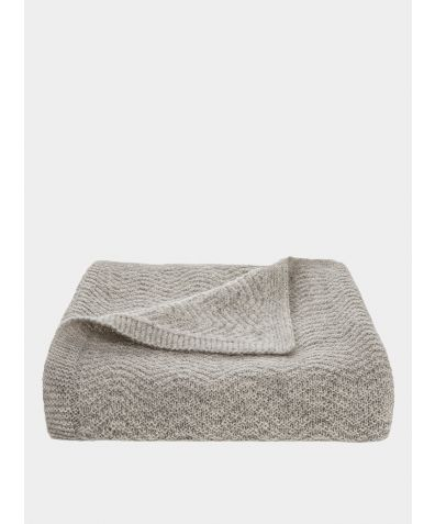 Wave Knitted Woollen Baby Blanket - Oatmeal