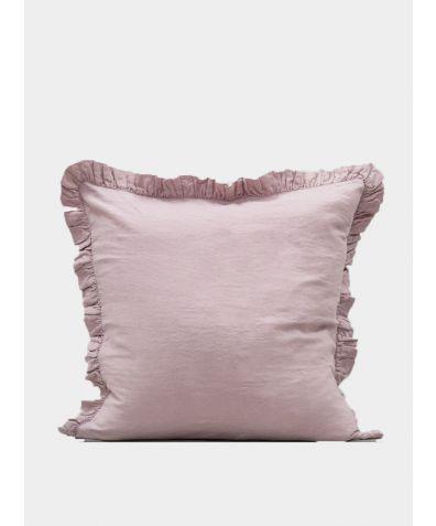 Ruffle Linen Pillow - Blush
