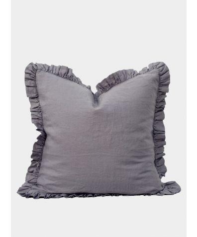 Ruffle Linen Pillow - Pewter Grey