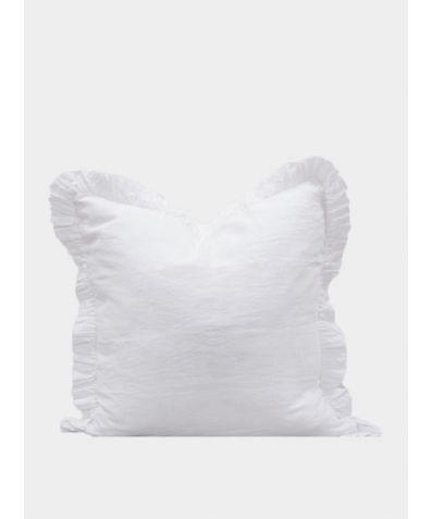 Ruffle Linen Pillow - White
