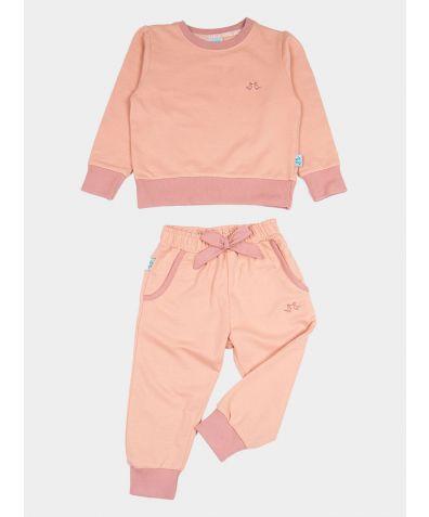 Girls Organic Cotton Jersey Lounge Set - Pink