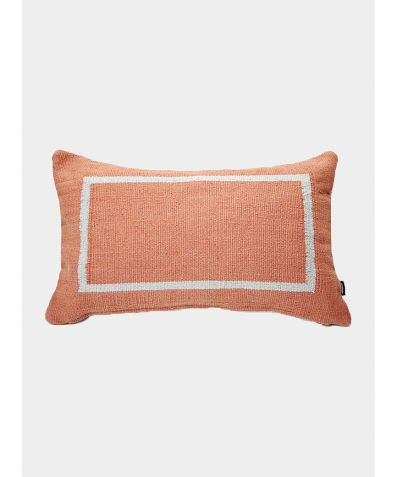 Jama-Khan Hand Woven Cotton Rectangle Cushion - Terracotta