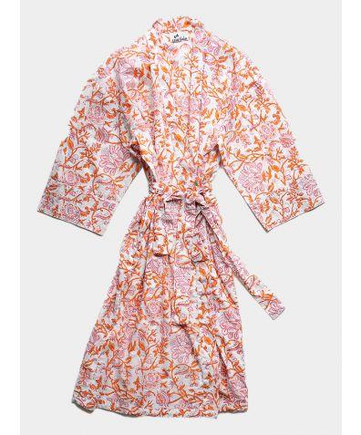 Organic Cotton Block Printed Robe - Orange and Pink Floral