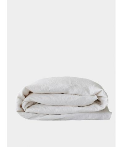 Organic Linen Fitted Sheet - White