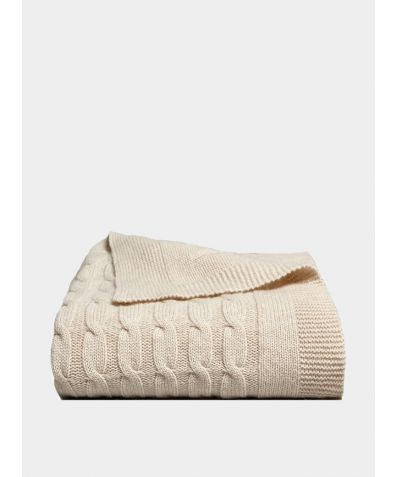 Oshin Cashmere Cable Knit Blanket - Stone