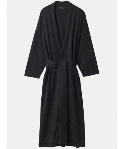 Legere Cashmere Dressing Gown - Charcoal