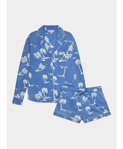 Women's Cotton Pyjama Short Set - White Palm Trees