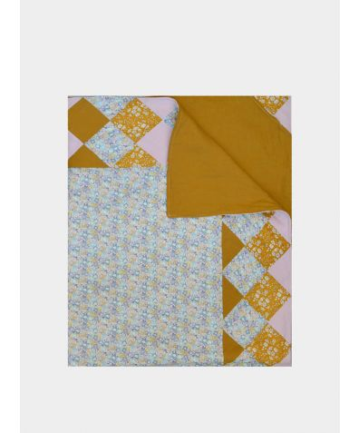 Liberty Patchwork Bedspread - Michelle Sea Green, Capel Mustard, Mortimer, Rose & Ginger Linen