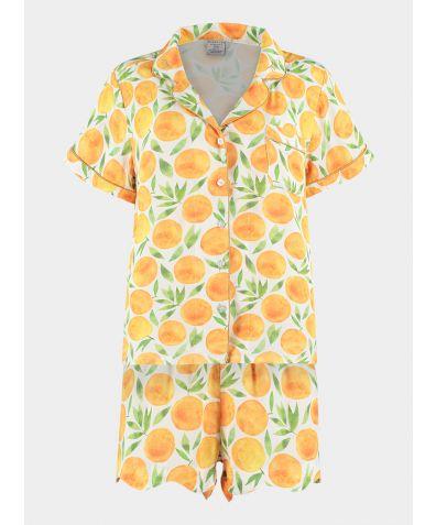 Organic Bamboo Pyjama Short Set - Sweet Clementine