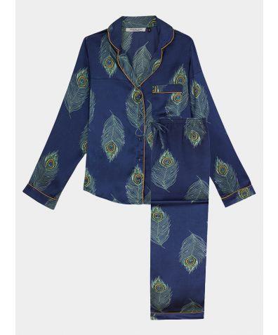Women's Satin Pyjama Trouser Set - Navy Peacock Feather