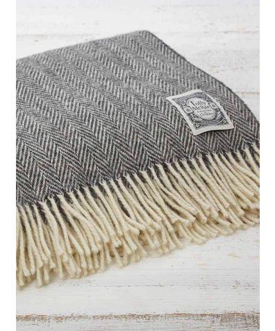 Wool Throw - Warm Grey Herringbone