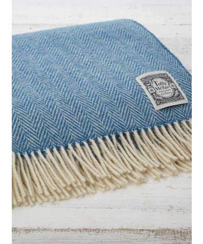 Wool Throw - Cornish Blue