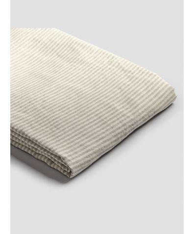 Linen Duvet Cover - Oatmeal Stripe