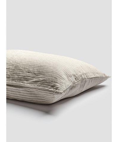Linen Pillowcases (Pair) - Oatmeal Stripe