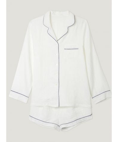 Women's White Linen Pyjama Short - Set/Separate