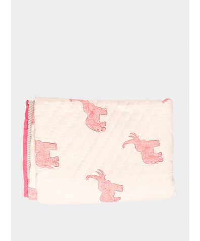 Quilted Cotton Throw - Gulabi Elephant