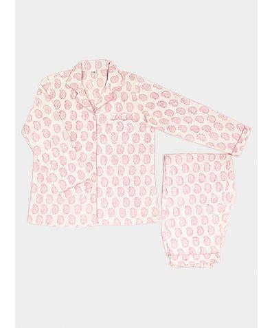 Women's Organic Cotton Pyjama Trouser Set - Pink Paisley