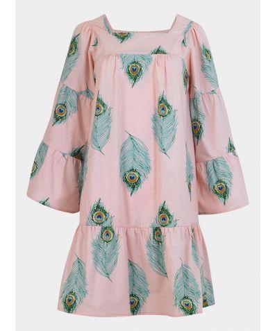 Women's Cotton Tiered Nightie - Pink Peacock