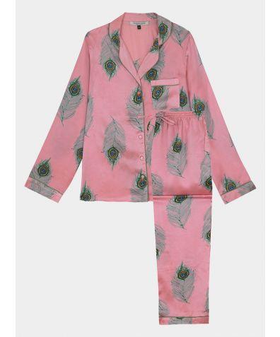 Women's Satin Pyjama Trouser Set - Pink Peacock Feather