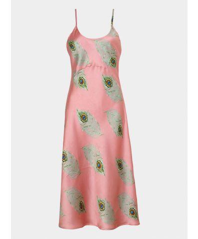 Women's Satin Nightdress - Pink Peacock