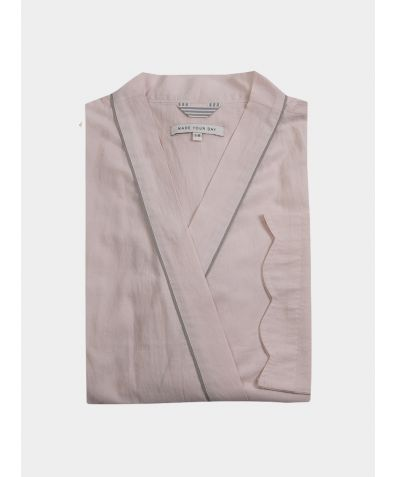Scallop Organic Cotton 3/4 Sleeve Robe - Blush