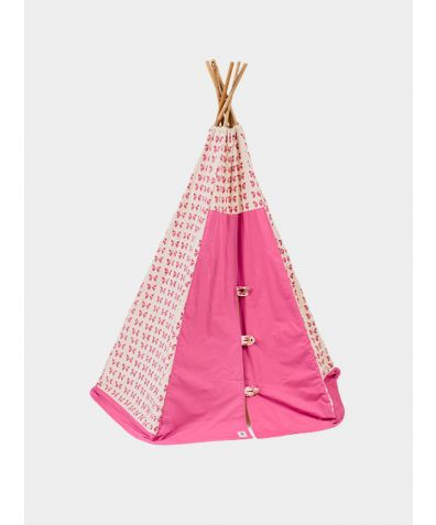 Organic Cotton Canvas Teepee with Bamboo Poles - Pink