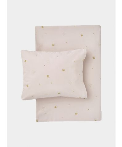 Organic Cotton Bed Linen Set - Crowns Pale Rose / Gold