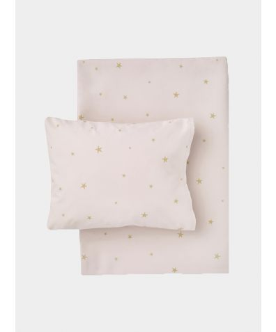 Organic Cotton Bed Linen Set - Starry Sky Pale Rose / Gold