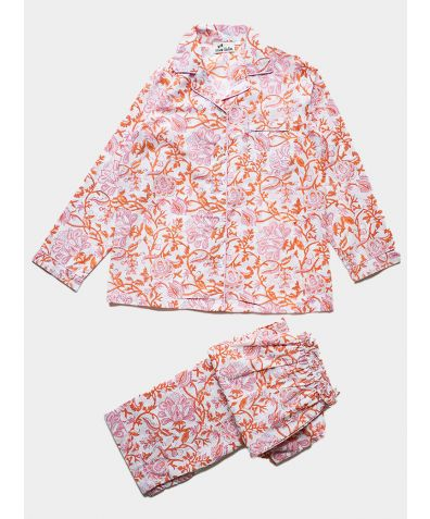 Women's Organic Cotton Pyjama Trouser Set - Pink and Orange Floral