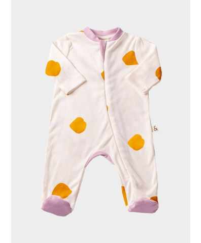 Organic Cotton Pink Contrast Footed Sleepsuit - Yellow Dots