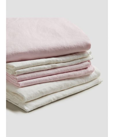 Natural French Flax Linen Bedtime Bundle - Blush