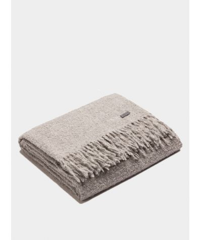 Plaid Boucle Blanket - Silver