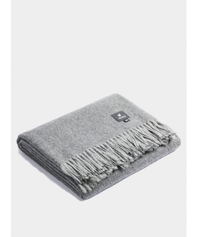 Plaid Boucle Blanket - Grey