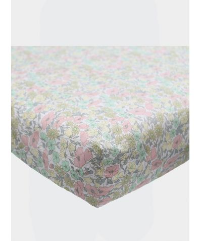 Liberty Print Fitted Sheet - Poppy & Daisy Lemon