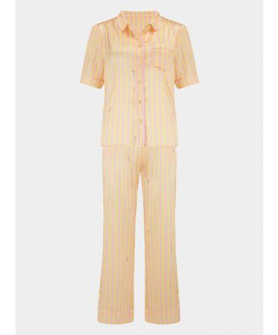 Women's Poppy Lemonade Caterpillar Stripe Silk Pyjama Trouser - Set/Separate