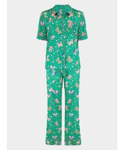 Women's Poppy Rainforest Butterfly Silk Pyjama Trouser Set - Set/Separate
