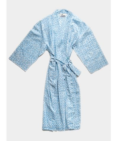 Organic Cotton Block Printed Robe - Powder Blue Moroccan